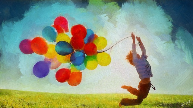chlapec s balonky